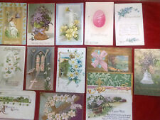 14 Antique Easter Postcards-1907/1908/1909 /etc-some embossed-most posted