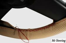 FOR AUDI A4 B5 B6 BEIGE PERFORATED LEATHER STEERING WHEEL COVER 94-05 RED STITCH