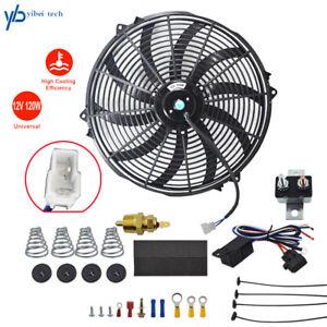 "16"" Universal  Slim Fan Push Pull Electric Radiator Cooling 12V Mount Kit Black"