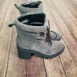 NEW Marc Fisher LTD Kachine Suede Bootie Size 8 Gray Combat Lace Up Heeled