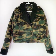 Womens Rue 21 Army Camo Print Jacket Coat Size Large Green Zip Up Long Sleeve