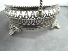 VINTAGE SILVER PLATED DISH WITH MILK GLASS LINER