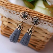 Vintage Damen Rhinestones Crystal Tassel Drop Dangle Party Stud Earrings Jewelry