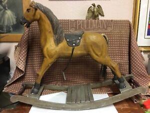 "FOLK ART MID CENTURY ROCKING HORSE ""RARE"""
