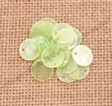 30pcs Green Flat Round Mother Of Pearl Shell Coin Drop Charm Beads 15MM