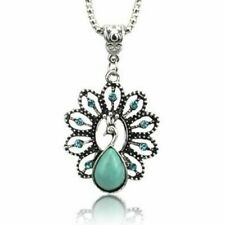 Turquoise Peacock Rhinestone Necklace Boho Summer Festival Jewellery Gift Idea