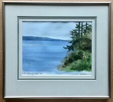 Vintage Signed Michel DesRochers Galloping Goose Trail Watercolor - Frame 13x15""