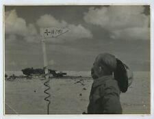 Wrecked Tank In The Desert - WW2 Press Photo