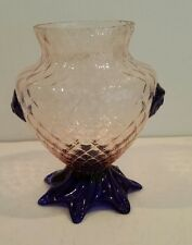 19th CENTURY PINK & COBALT BLUE ART GLASS VASE ANTIQUE
