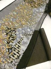 "RARE & Beautiful!! Black Silk ""Sha"" Fabric Bolt for ""Fukuro-obi"" & Liner F680"