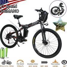Red 21 Speed 350W Folding Electric Bike 26'' E-bike City Mountain Bicycles WINIT