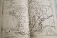 CARTE ANCIENNE COULEURS FRANCE PHYSIQUE 1865 ATLAS BOUILLET R661