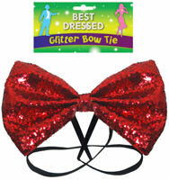 Red Glitter Bow Tie - Fancy Dress Costume Large - Outfit Party