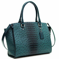 New Women Ostrich Leather Tote Briefcase Work Satchel Shoulder Bag Handbag Purse