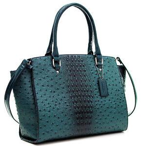 New Women Faux Ostrich Leather Tote Briefcase Satchel Shoulder Bag Handbag Purse
