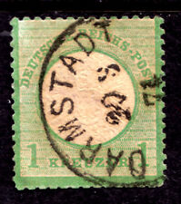 GERMANY #21 1kr YELLOW GREEN, 1872 LARGE SHIELD, F, CDS