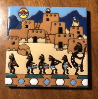 "Earthtones Tile Trivet Kokopelli 1995 5.75""x5.75"" USA Flute Player Fertility"