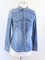 J Crew Denim Chambray Western Pearl Snap Button Down Shirt Blouse Size 4 Blue