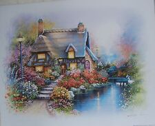 FREE SHIPPING! ART SALE! ORPINAS KINKADE LIKE COTTAGE ON POND RIGHT SWANS 22X28