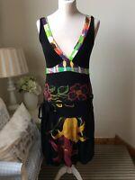 DESIGUAL Black Multicoloured Flower Print Sleeveless V Neck Dress Size M Spanish