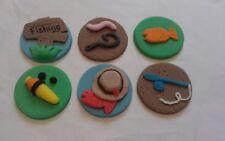 6 fishing edible  sugar cake,cupcake topper decorations.