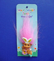 Russ PIN Easter Vintage TROLL Rabbit Egg BASKET PINK Hair Doll Holiday NEW
