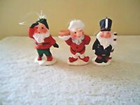"""Vintage Set Of 3 Made In Philippines Gnome Christmas Ornaments """" BEAUTIFUL SET """""""
