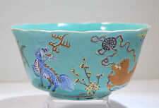 Chinese Turquoise Enamel Painted Porcelain Lotus Bowl Dragon Fu-Lion Bat Motif