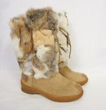 PAJAR Genuine Fox Fur Hair Tan Leather Winter Snow Yeti Zip Tie Boots Women 7.5