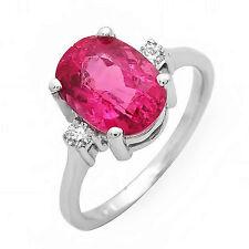 Flawless 3.4 ct Tourmaline & diamond ring 14k gold