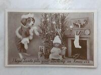 1930s CHRISTMAS Real Dressed DOG Tree Stocking Postcard VINTAGE Nyce Frees 765