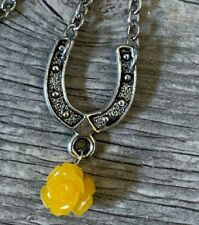 Horseshoe Good Luck Yellow Rose of Texas SilverCharm Pendant Western Necklace