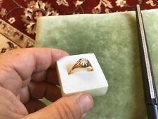 VINTAGE MENS SOLID 9CT GOLD 0.75CT SOLITAIRE CZ GYPSY RING SIZE W 2.56g