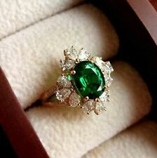 3Ct Oval Cut Green Emerald Halo Engagement Wedding Ring 14K Yellow Gold Finish