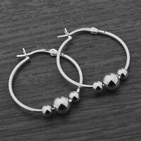 Genuine 925 Sterling Silver 25mm Ball Beaded Creole Hoop Sleeper Earrings