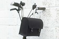 Custom Large Handcrafted Leather Handlebar Casket For BROMPTON in Black
