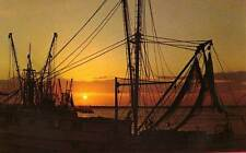 WANCHESE NC Shrimp Boats at Sunset Roanoke Island OBX postcard