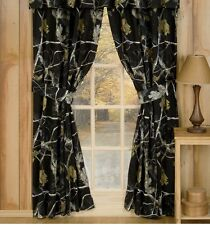 Realtree APC Black Camo Lined Curtains / Drapes Rod Pocket Deer Hunting Outdoor