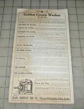 1920s GOLDEN CROWN WASHING MACHINE Set-Up/Repair List Instructions Leaflet SEARS