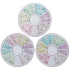 BMC 3 Wheel Teardrop Marquise Heart Plastic Nail Art Studs - Pastel Pretty Set