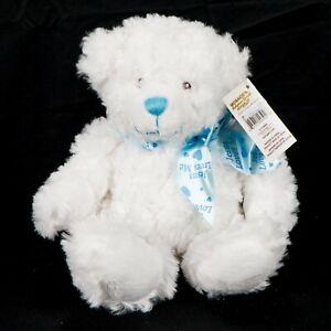 """Ganz Jesus Loves Me Teddy Bear Plush Rattle 11"""" Blue Bow White Baptism Christen"""