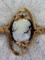Vintage Antique Shell Carved Cameo Bracelet  in 14kt Rolled Gold  Wire Wrapped -