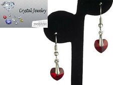 Earring Ruby Red Crystal Dangles White Goldplate Swarovski Stones NEW