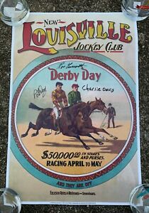 Kentucky Derby Poster Signed by Secretariat's Ron Turcotte Charlie Davis
