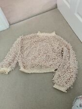 Zara Cream Chunky Wool Knit Jumper With Metallic Frill Detail Size SMALL BNWT