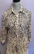 ERIN LONDON Sheer Leopard Print 3/4 Sleeve Blouse/Tunic sz S
