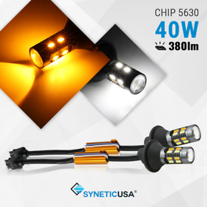 Syneticusa 3157 Switchback White/Amber Color LED Turn Signal Light No Hyperflash