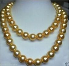 "35"" Stunning AAA+ 10-11mm natural south sea golden pearl necklace 14K Gold Clasp"