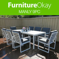 Manly 9pc Outdoor Garden Dining Patio Table Chair Aluminium Furniture Setting