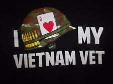 Vietnam Vet I Luv My  M ladies black t shirt helmet bullets ace of hearts